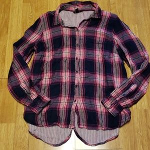 Lucky Brand plaid lined button down sz M